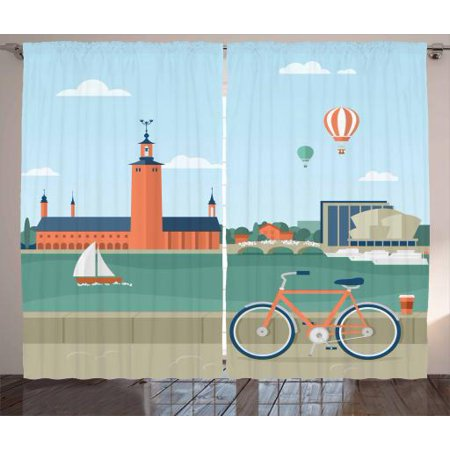 Halloween Town City Hall (City Curtains 2 Panels Set, Illustration of Seaside Promenade in Stockholm Sweden View of the Town Hall Bicycle, Window Drapes for Living Room Bedroom, 108W X 63L Inches, Multicolor, by)