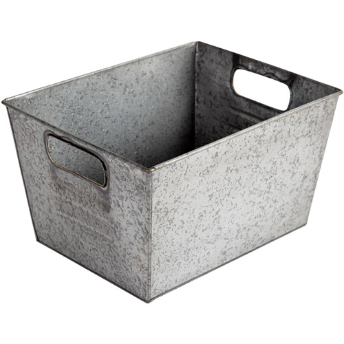 Better Homes and Gardens Small Galvanized Bin, Silver