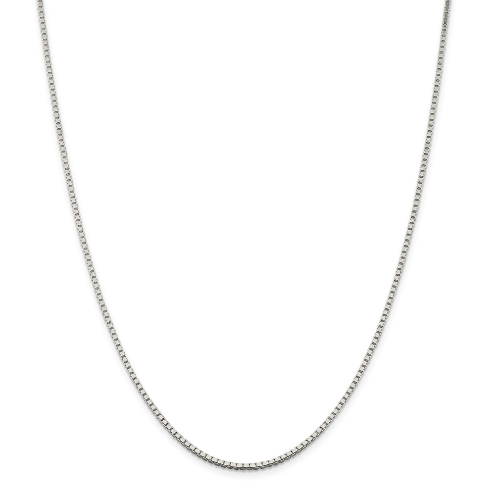 """925 Sterling Silver 1.75mm Box Necklace Chain -18"""" (18in x 1.75mm)"""