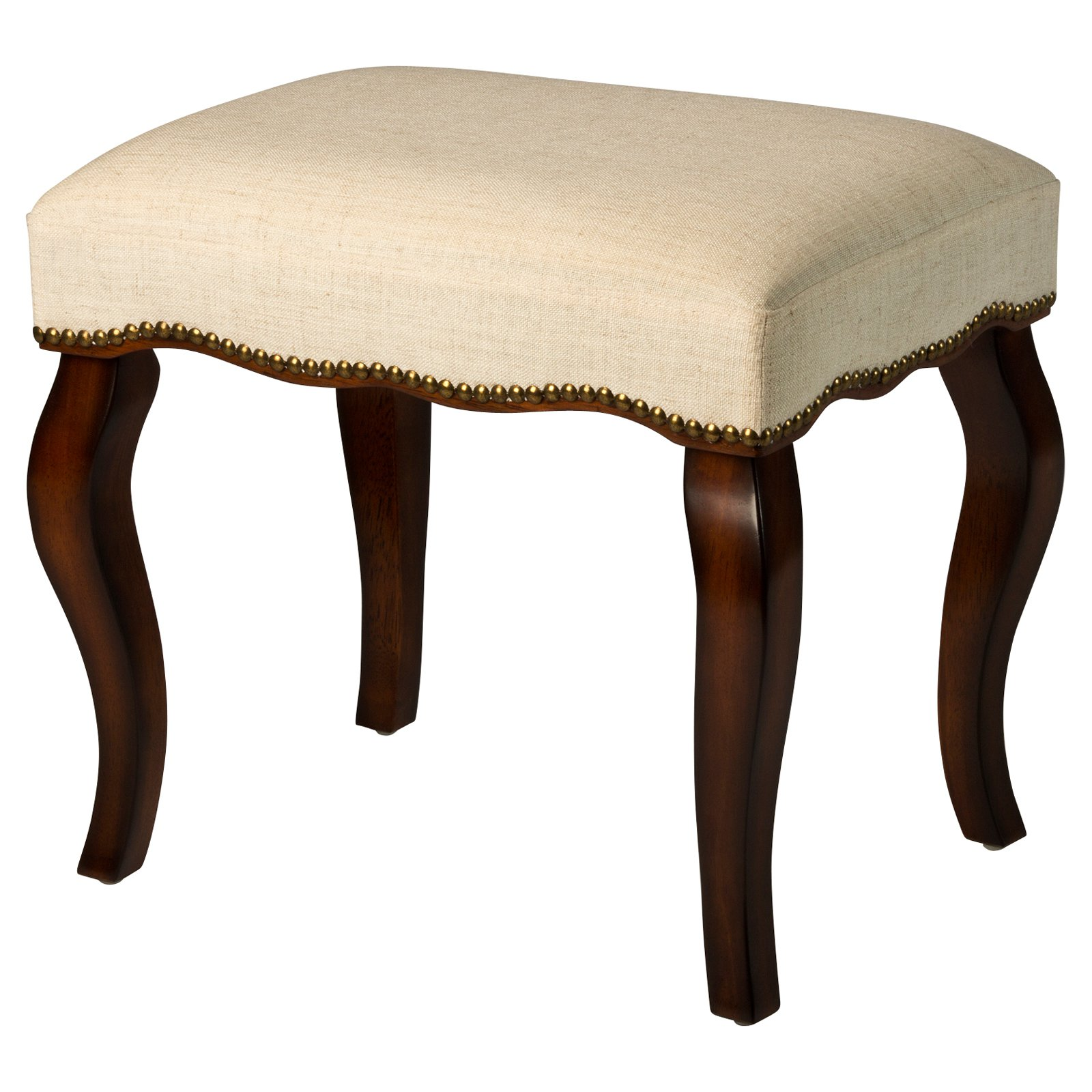 Hillsdale Furniture Hamilton Vanity Stool with Nail Heads, Burnished Oak
