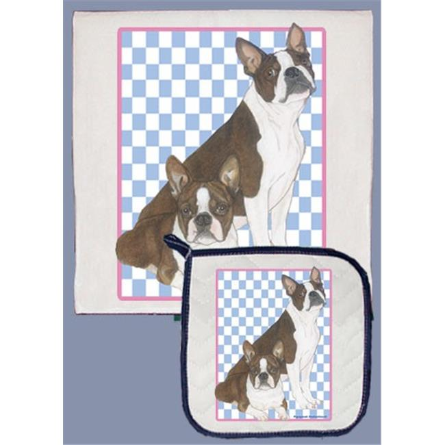 Pipsqueak Productions DP919B Boston Terrier Dish Towel And Pot Holder Set