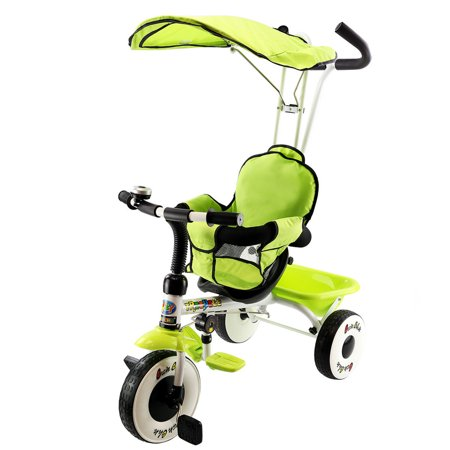 Costway 4-In-1 Kids Baby Stroller Tricycle Training Learning Toy Bike w/ Canopy