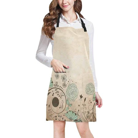 ASHLEIGH Vintage Image with Floral Swirls Retro Antique Art Print Chef Kitchen Apron, Adjustable Strap Waist Ties, Front Pockets, Perfect for Cooking, Baking, Barbequing
