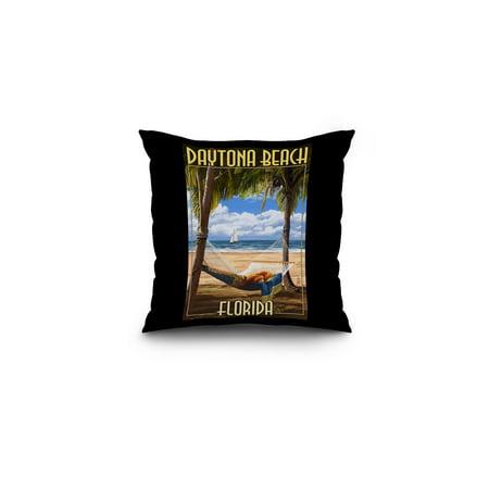 Daytona Beach, Florida - Palms & Hammock - Lantern Press Artwork (16x16 Spun Polyester Pillow, Black Border) ()