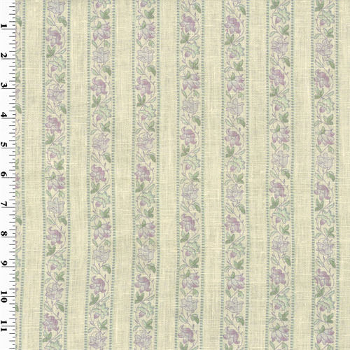 Purple Floral Stripe Print Vintage Linen  Decorating Fabric, Fabric By the Yard