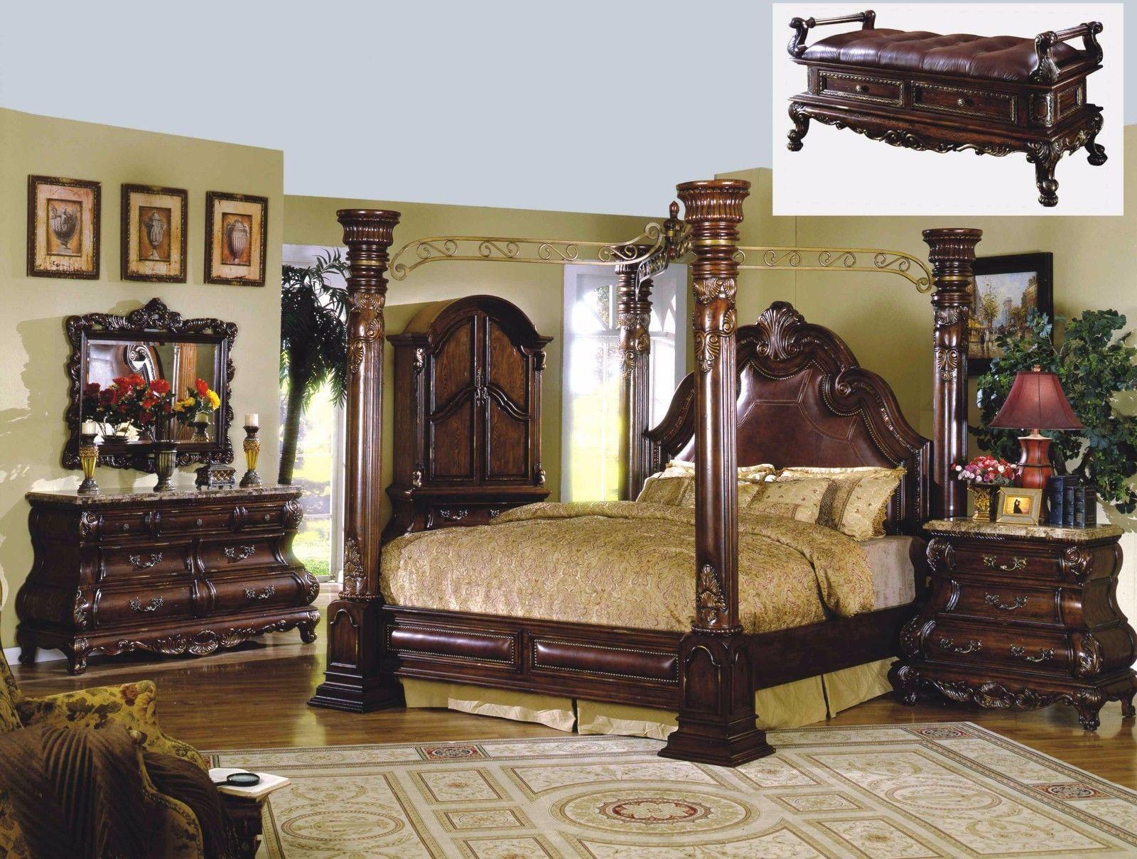 Mcferran Rb9088 Monaco Dark Cherry Finish Canopy Eastern King Bedroom Set 5 Pcs Walmart Com Walmart Com
