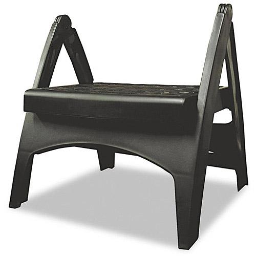 Adams Manufacturing Quik-Fold Plastic Step Stool, Black