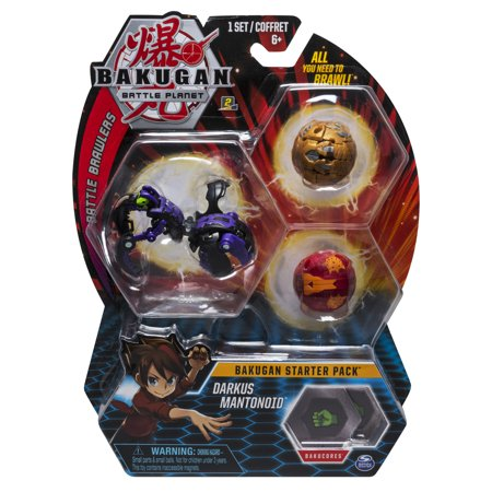 Bakugan Starter Pack 3-Pack, Darkus Mantonoid, Collectible Action Figures, for Ages 6 and