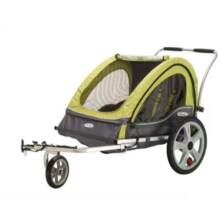 InStep Sierra Double Seat Foldable Tow Behind Bike Trailers, Converts to Stroller/Jogger, Featuring 2-in-1 Canopy and 20-Inch Wheels, for Kids and Children, Green