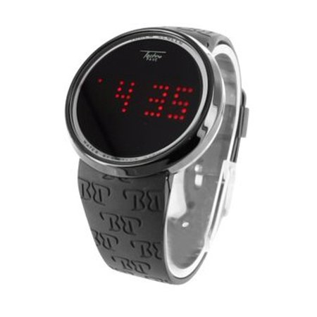 Black Touch Screen Watch Mens Digital LED Round Face Silicone Strap Techno Pave