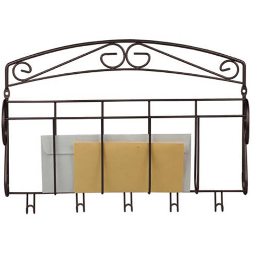 Home Basics LR30625 Letter Rack with Key Hook, Bronze Finish