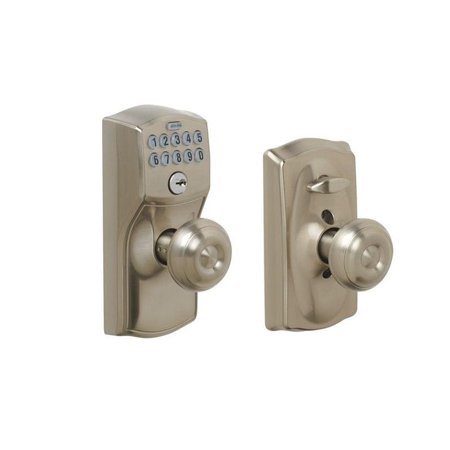 Schlage FE595-CAM-GEO Camelot Keypad Entry with Flex-Lock Door Knob Set with Geo