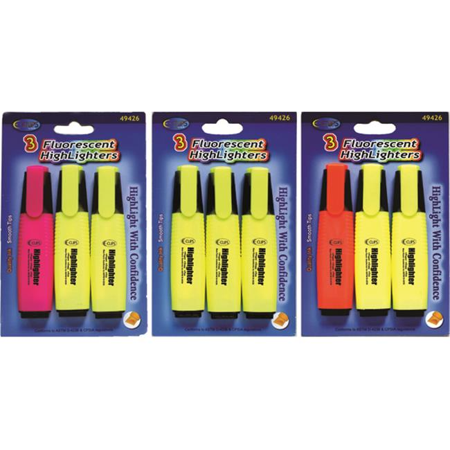 DDI 1455128 Fluorescent Highlighters - 3 pack Case Of 48