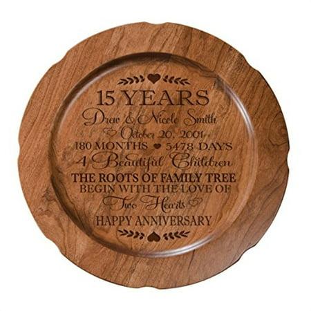15 Year Wedding Anniversary Gift.15th Wedding Anniversary Plate Gift For Couple 15 Year Anniversary Gifts For Her Happy Wedding Anniversary 12 D Custom Engrav