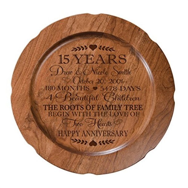 15th Wedding Anniversary Plate Gift For Couple, 15 Year