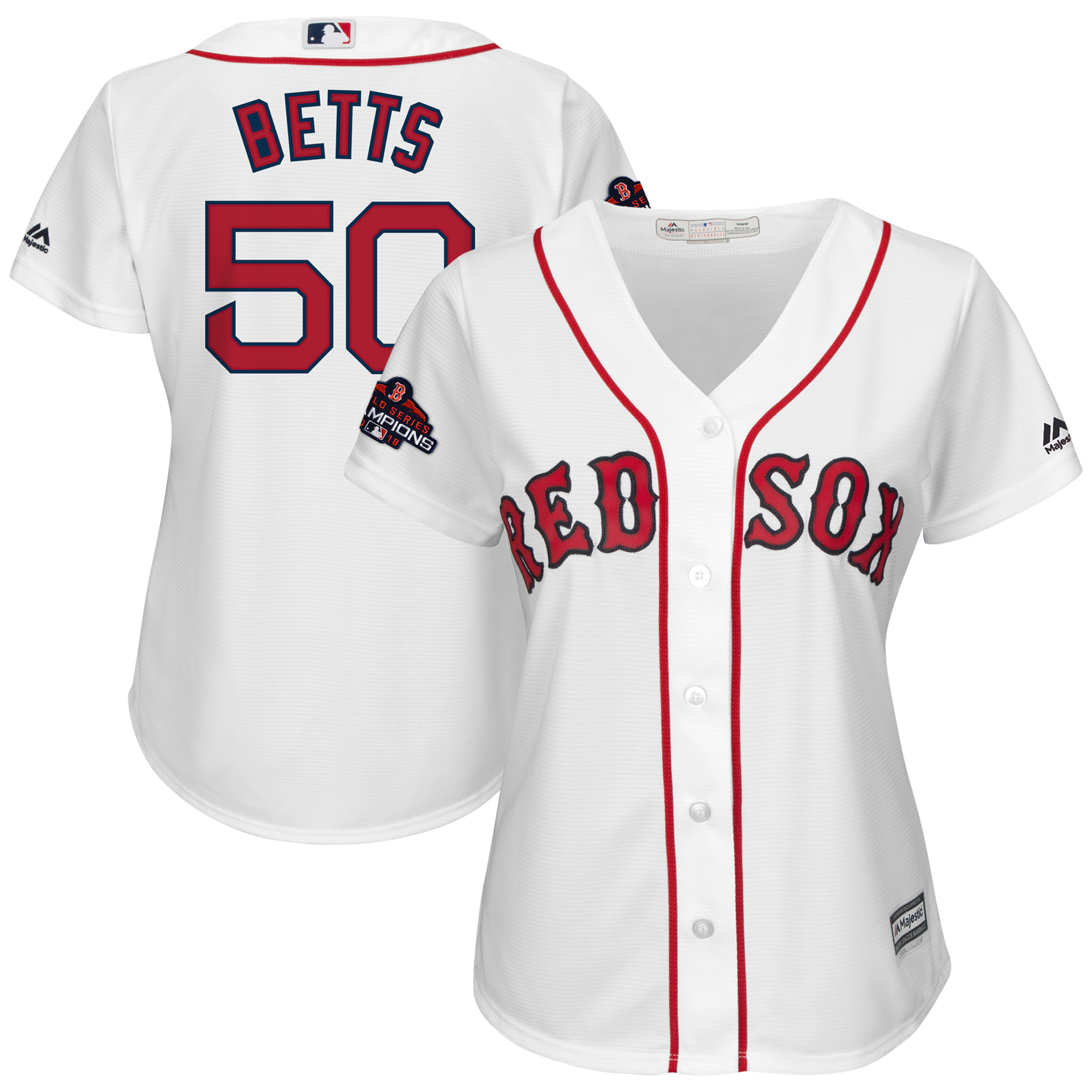 Mookie Betts Boston Red Sox Majestic Women's 2018 World Series Champions Team Logo Player Jersey - White