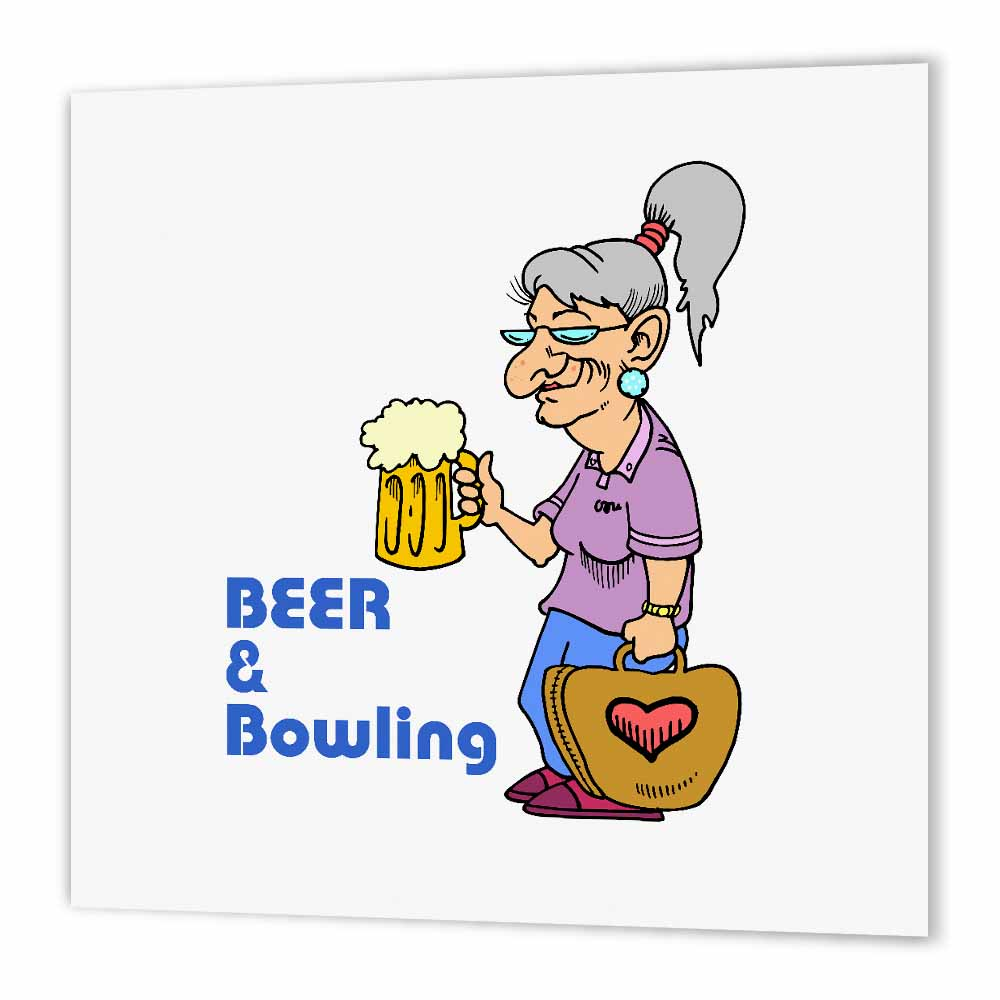 3dRose Funny Beer And Bowling Grandma Sports Design, Iron On Heat Transfer, 8 by 8-inch, For White Material