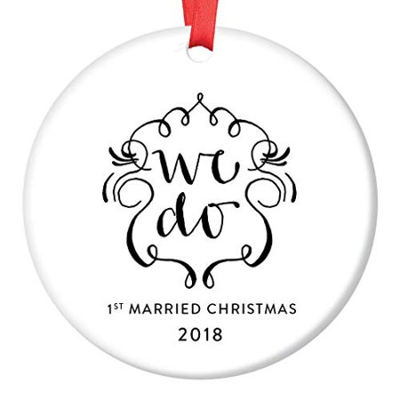 - First Year Married 2018 Christmas Tree Ornament Pretty WE DO Newlywed Couple's 1st Holiday Marriage as Mr. & Mrs. Ceramic Collectible 3