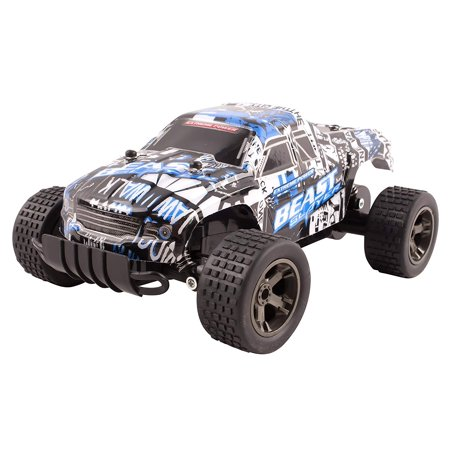 RC Truck Cheetah King Buggy Remote Control 2.4 GHz System 1:18 Scale Size Car RTR With Working Suspension High Speed Radio Control Off-Road Hobby Truggy Rechargeable Battery Included (Blue)