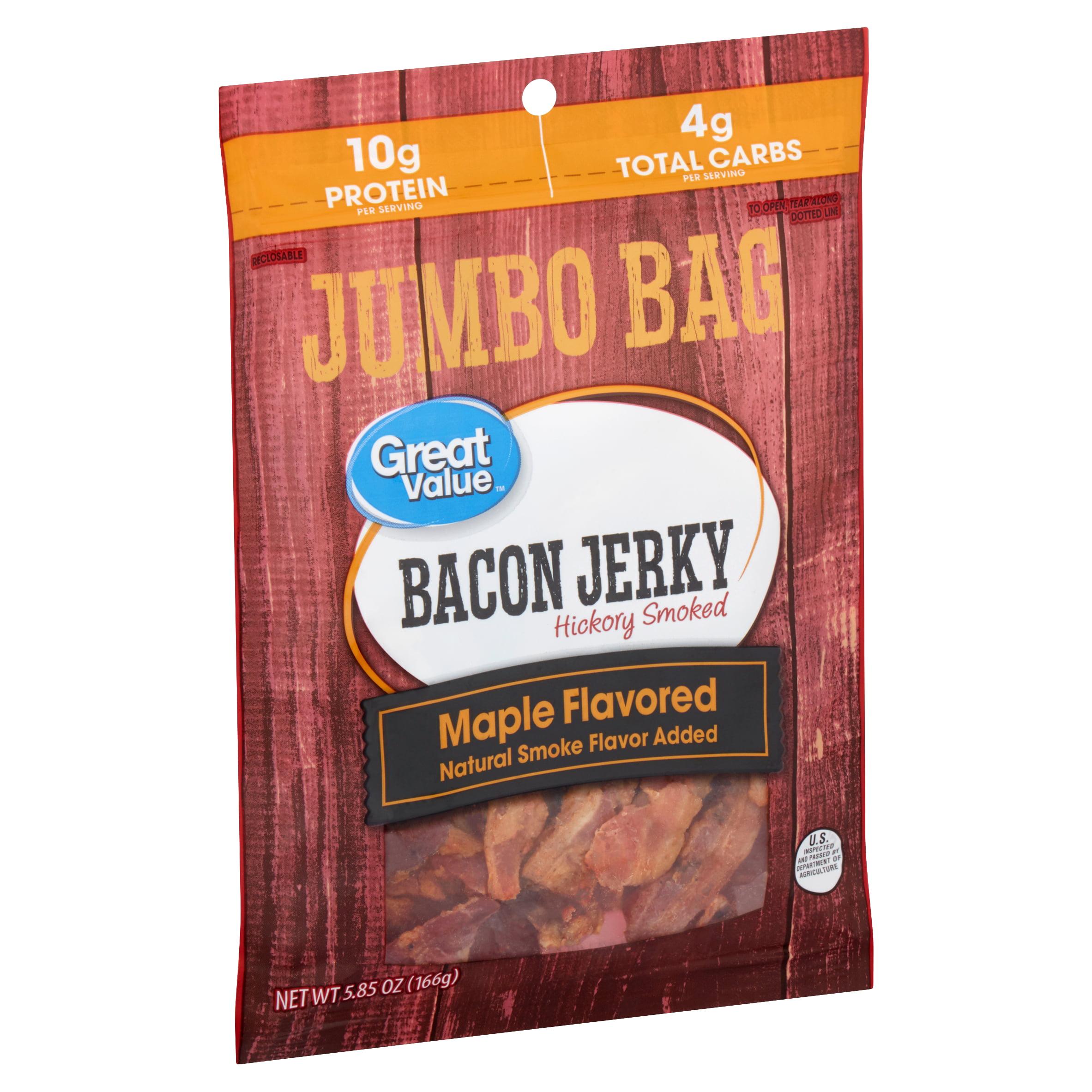 Great Value Hickory Smoked Maple Flavored Bacon Jerky Jumbo Bag, 5.85 Oz.