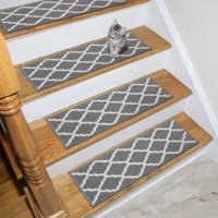 7-Pack Ottomanson Glamour Collection Trellis Design Stair Tread