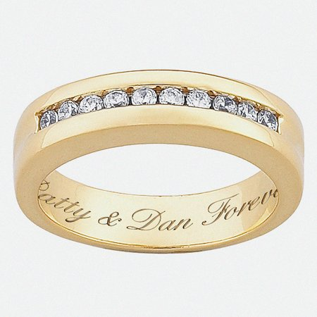 Personalized 18kt Gold over Sterling Silver CZ Wedding Band