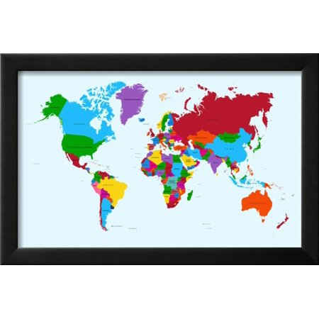World map colorful countries framed print wall art by cienpies world map colorful countries framed print wall art by cienpies gumiabroncs Image collections