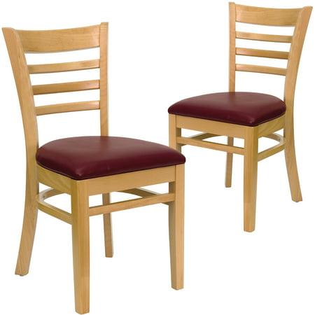 Ladder Back Chairs - Set of 2, Natural / Burgundy Vinyl Seat ()