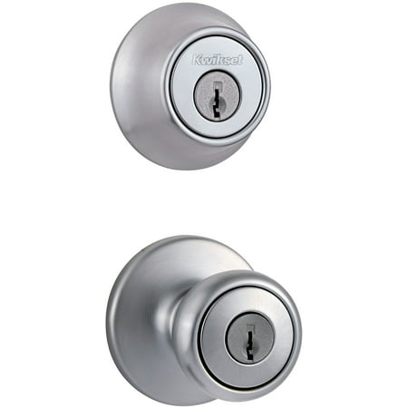 Kwikset 96950-162 Satin Chrome Entry Knob with Double Cylinder Deadbolt Pack