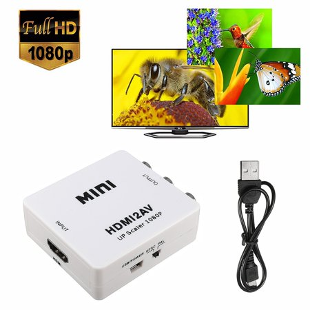 Mini 1080P Hdmi To Rca Converter Adapter Input Hdmi Digital Output Rca Analog Audio Video Composite Cvbs For Hdtv Vcr Dvd Vhs Ps3 Xbox