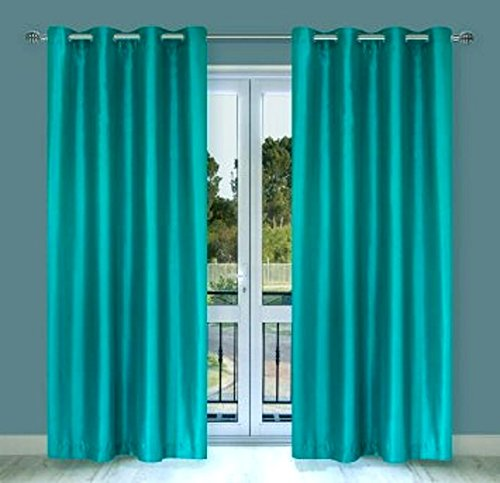 "Gorgeous Home (#32) 2 PANELS SOLID TURQUOISE BLUE 63"" SHORT THERMAL FOAM LINED BLACKOUT HEAVY THICK WINDOW CURTAIN DRAPES SILVER GROMMETS, 2 Thermal Panels.., By Gorgeous Home LINEN"