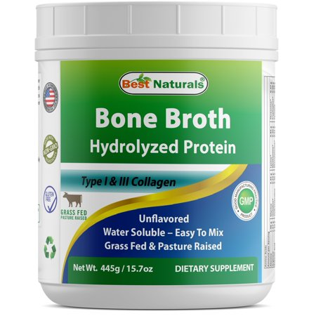 Best Naturals Bone Broth Hydrolyzed Protein Type I & Type III Collagen unflavored 445 Gram (15.70 oz) Water Soluble - Easy to (Best Vitamin Water For A Hangover)