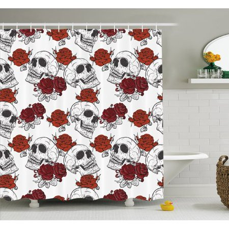 Ambesonne Skull Retro Gothic Dead Skeleton Figures with Rose Halloween Spooky Trippy Romantic Shower Curtain Set