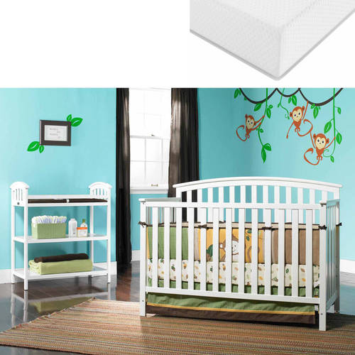 Graco Freeport 4-in-1 Convertible Fixed-Side Crib and Mattress Value Bundle