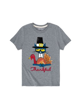 pete the cat thankful - youth short sleeve tee