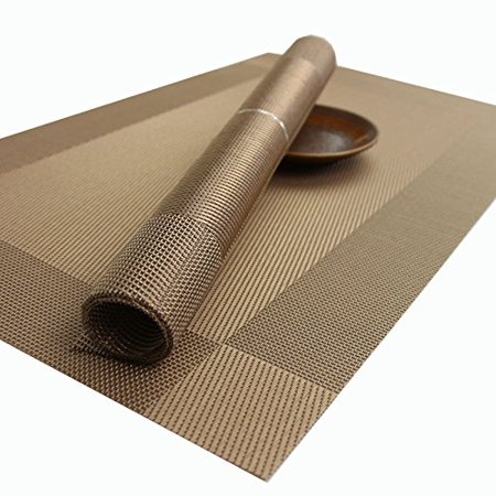 Kidcia Placemats For Table Woven Vinyl Heat Resistant Washable Stain Kitchen Pvc