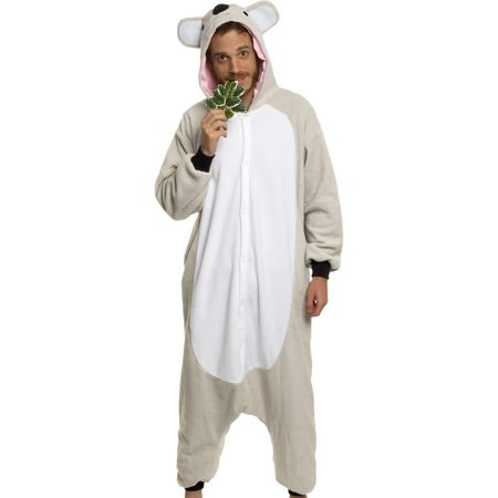 Silver Lilly Unisex Adult Pajamas - Plush One Piece Cosplay Koala Animal Costume