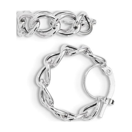 14k Boucles d'oreilles en or blanc poli blanc Cable Link Cercle Hoop (de) 19.1x21.4mm - image 1 de 3