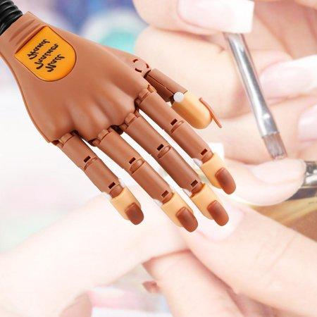 Christmas Flexible Clip On Nail Art Practice Training Hand Finger W 100pcs Tips
