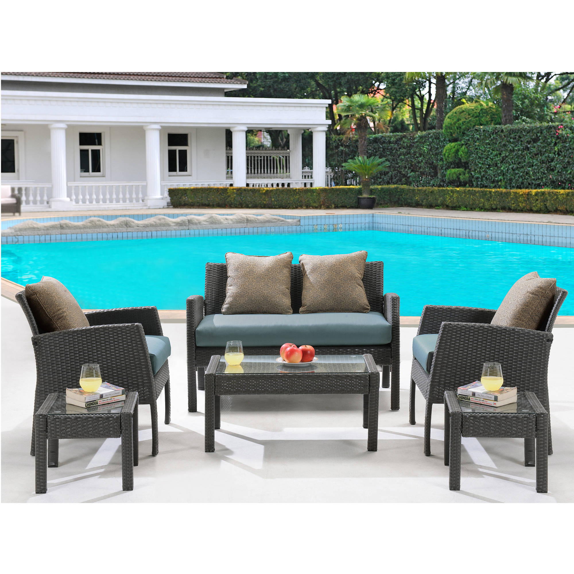 Hanover Outdoor Chelsea 6-Piece Space-Saving Patio Set