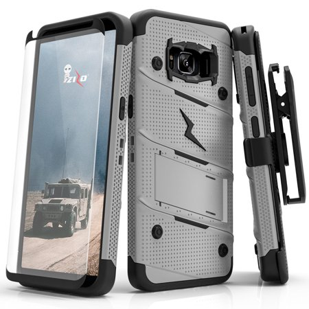 new style c3077 bb4b7 Zizo BOLT Series compatible with Samsung Galaxy S8 Active Case Military  Grade Drop Tested with Tempered Glass Screen Protector Holster