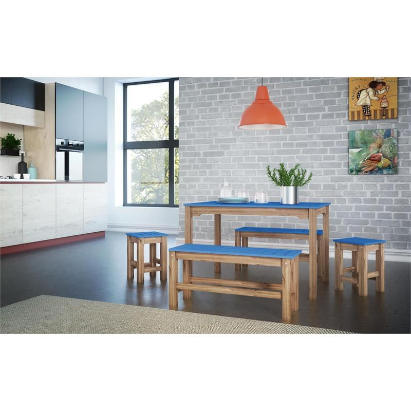 """5-Piece Stillwell 47.25""""  Dining Set  in Blue and Natural Wood"""