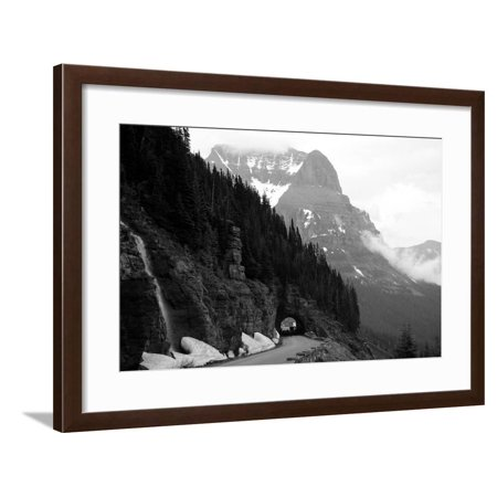 A Black And White Photo Of A Tunnel On The Going-To-The-Sun Road Of A Foggy Valley In Logan Pass Framed Print Wall Art By 1photo