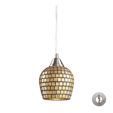 - Pendants 1 Light With Satin Nickel Finish Gold Leaf Mosaic Glass Medium Base 5 inch 60 Watts - World of Lamp