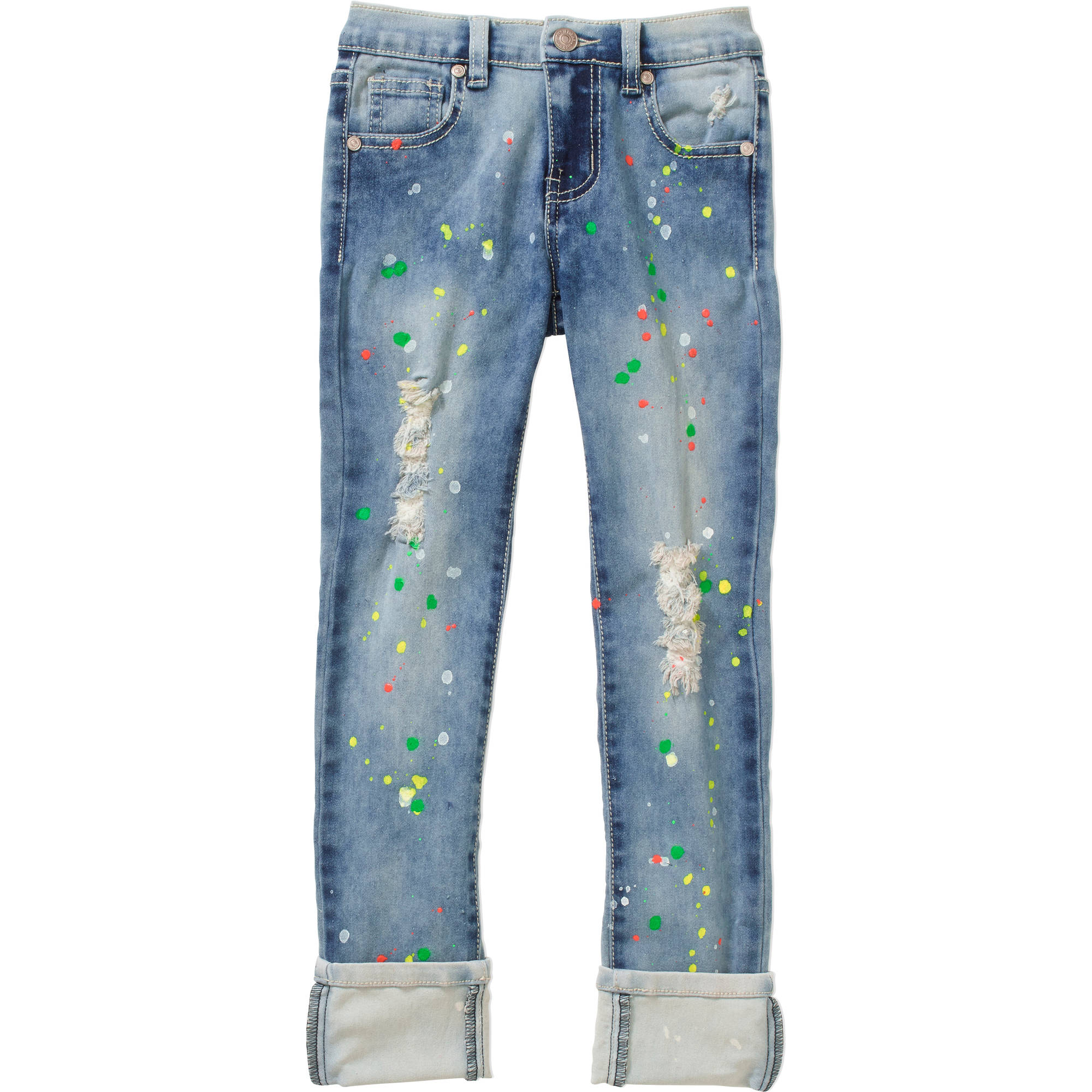 Thrill Jeans Girls' Rolled Cuff Distressed Paint Splatter Skinny Jeans