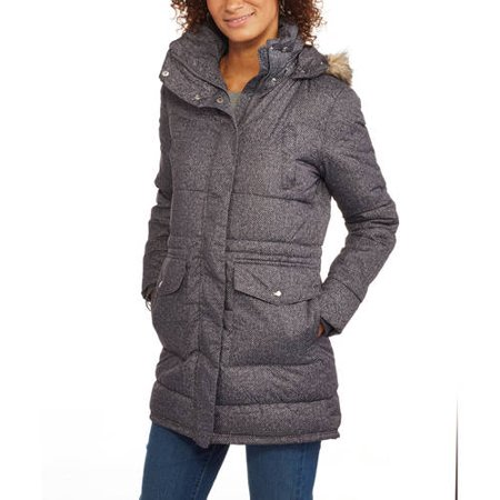 Women's Long Tweed Puffer Coat With Fur-Trimmed Hood