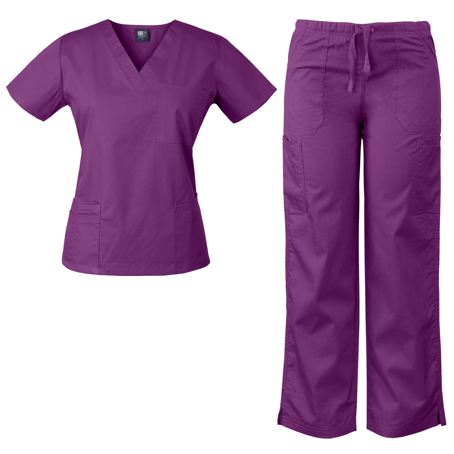 MedGear Womens Scrubs Set Medical Uniform – 4 Pocket Top & Multi-pocket Pants 7891