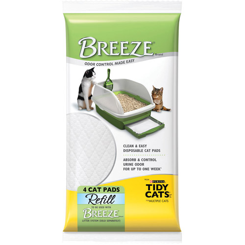 Purina Tidy Cats Breeze Cat Pads Refill for Multiple Cats, 4 ct