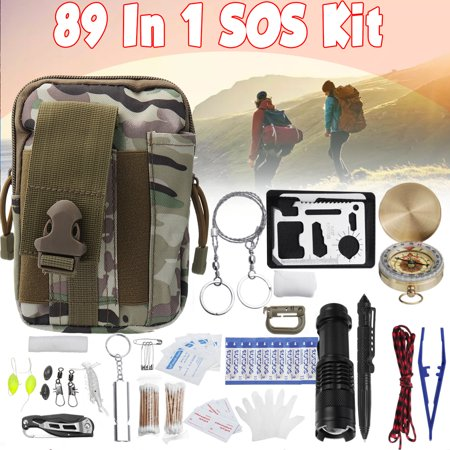 13/17/30/89pcs Survival Gear Kits- Outdoor Emergency SOS Survival Tool Kids For Camping Hiking, Whistle /Multi-function scraper /Carabiner /Ice Pack /Compass