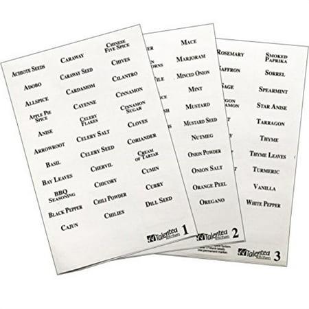 113 alphIetized spice lIel system: 96 spice names + 17 blank write-on lIels by talented kitchen. clear sticker & black letters. waterproof & tear-resistant preprinted spice sticker spice lIels set